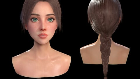 Long Braid Hairstyle - Realtime, Game-Ready, Lowpoly 3D Model