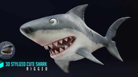 3d Stylized Cute Shark - Rigged