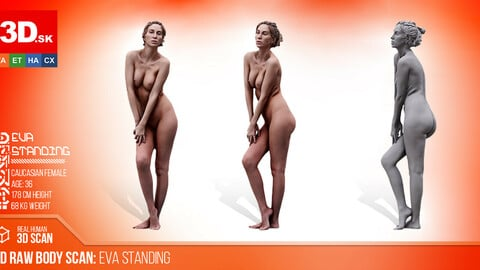 Cleaned 3D Body scan of Eva Standing