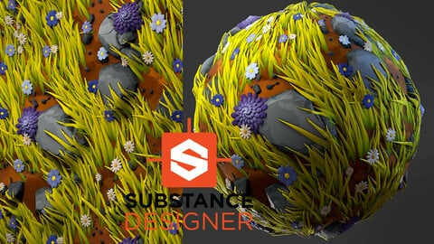 Stylized Grass with Flowers - Substance Designer