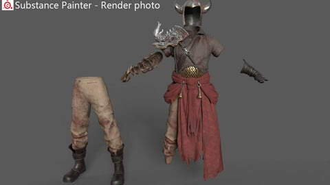 Ancient male warrior armor costume