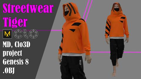 "Male Streetwear ""Tiger"". Marvelous Designer, Clo3d project + OBJ"