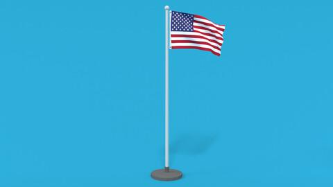 Low Poly Seamless Animated USA Flag