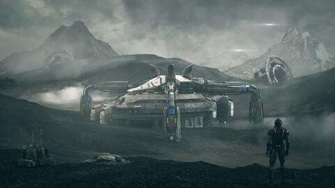 c4d octane Outer space science fiction scene alien planet barren colonization planet sci-fi terrain ruins Iceland Mars arctic land alien base