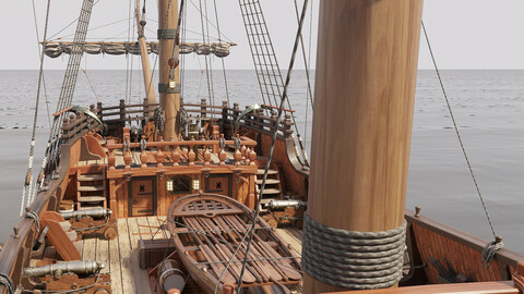 Galleon with interior