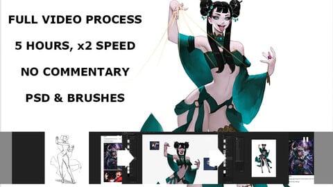 Harpist full video process, 5 hours, 2x speed