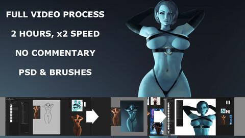 Slime girl full video process, 2 hours, x2 speed
