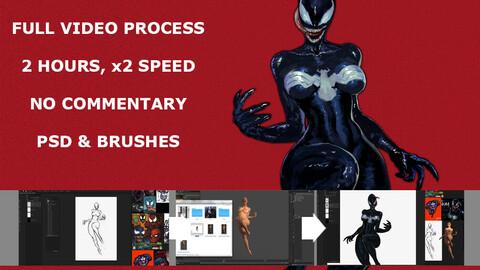 She-Venom symbiote full video process, 2 hours, x2 speed