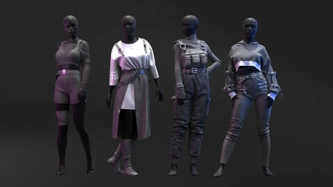 Pack Of Black Aesthetic Outfits. Marvelous Designer , Clo3D