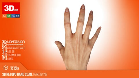 Retopologized 3D Hand scan of Hakobyan | Armenian female