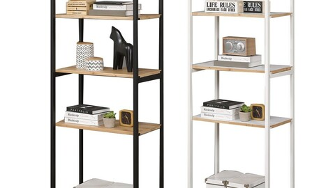 EXO steel 5-tier double-sided shelf bookshelf