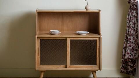Rib solid wood cabinet 2colors