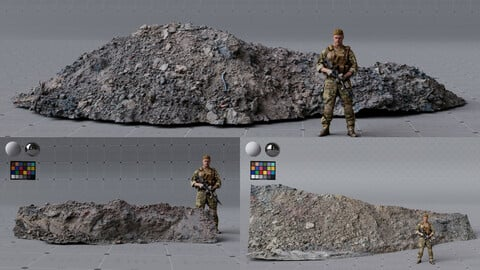 3x MUD scanned assets, medium quality, 4K textures, UDIMs