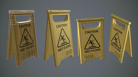 wet floor sign - low poly - pbr textures - 1k