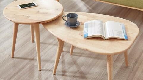 Lena Solid Wood Ellipse Tea Table Set