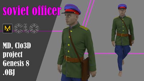 Soviet officer. Marvelous Designer, Clo3d project + OBJ
