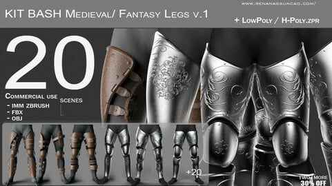 KitBash 20 Medieval/Fantasy Legs IMM - .obj/.fbx/.zpr./.blend/.max