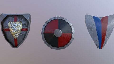 Low Poly Shileds 3D Model free