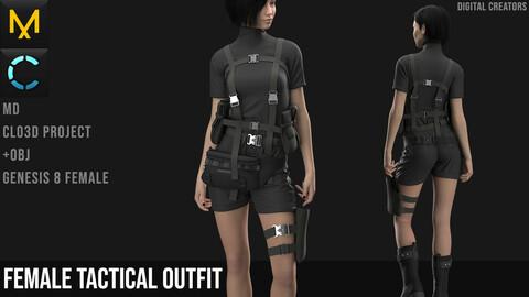 Female Tactical Outfit 2. Marvelous Designer / Clo 3D project +obj