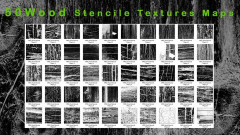 50 Wood  Damege  Stencile Texture Map - VOL 01