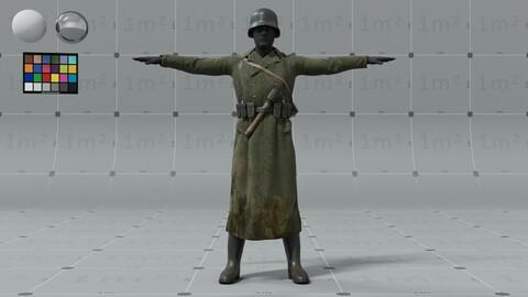 PBR 3D model - German ww2 soldier - animation ready - 9x 4K UDIMs