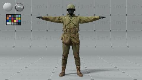 PBR 3D model - American ww2 soldier - animation ready - 9x 4K UDIMs