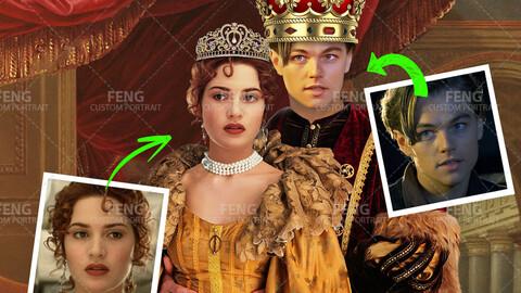 Custom King & Queen Portrait, Renaissance Portrait, Custom Royal Portrait from Photo, Personalized Historical Portrait