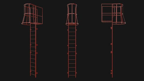 Fire escape stair Red