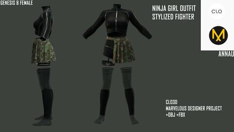 GENESIS 8 FEMALE: SLIMMING NINJA GIRL OUTFIT, STYLIZED FIGHTER: CLO3D, MARVELOUS DESIGNER PROJECT| +OBJ +FBX