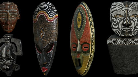 Tribal Pack (Masks and Wood Sculpture)