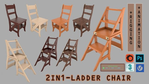 2 in 1 Ladder Chair + Rigging and Animation (4 wood versions)