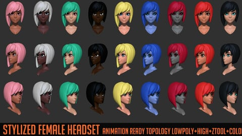 Stylized Female Head Set by Hong Chan Lim