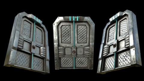 Cyberpunk Sci-Fi Door 3 - Low Poly - Free
