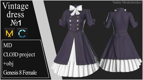 Vintage Dress №1. Clo 3D / Marvelous Designer project +obj