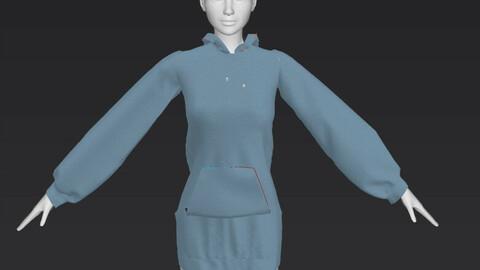 Light Weight Denim Hoodie Dress OBJ