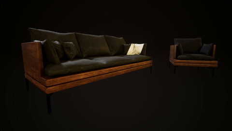 Sofa and Armchair for horror game