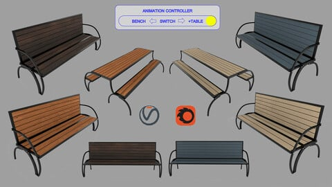 Convertible Bench and Table with  Rigging and Animation (4 Wood Versions)