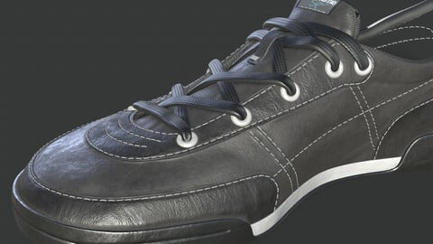 sneakers leather black with white