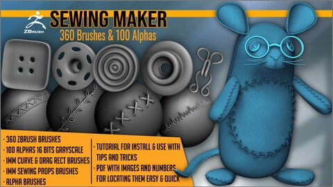 Sewing Maker: 360 ZBrush Brushes And 100 Alphas
