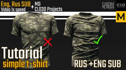 Tutorial. Simple T-Shirt. MD, Clo3d. Rus+Eng Sub