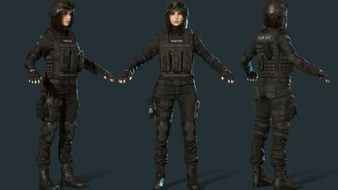 Police Special Force Girl Low-poly 3D model