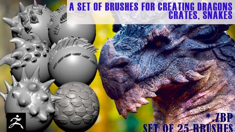 set of 25 ZBRUSH brushes dragon, snakes, lizard