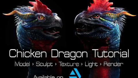 Chicken Dragon Tutorial - Model > Sculpt > Texture > Render