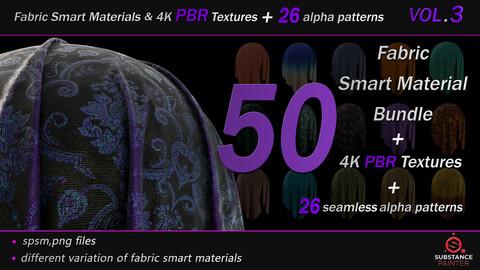50 High Quality Fabric Smart Material Bundle + 4K PBR Texture + 26 Seamless Alpha Patterns _VOL.3