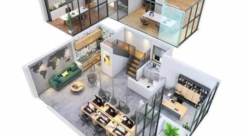 duplex Office apartment floorplan v1