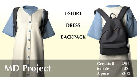 Female T-Shirt, Dress and Backpack