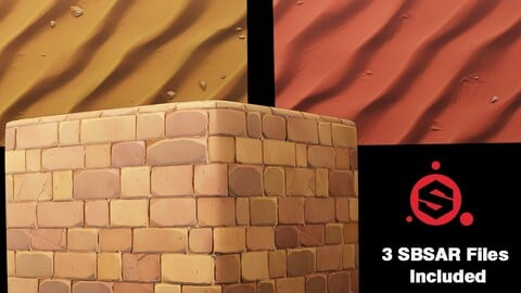 Stylized Seamless Desert Sand / Wall / Ground Textures with SBSAR