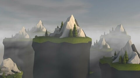 3D Island isometric game ready low poly.