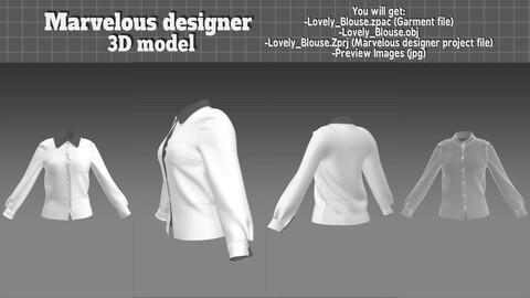 Lovely Blouse - 3d clothes model (Marvelous designer)