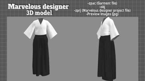 Hakama Japanese clothes -3D model Marvelous Designer
